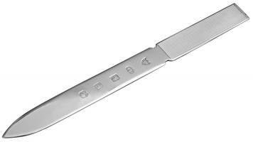 Feature hallmark with engine turned handle letter opener