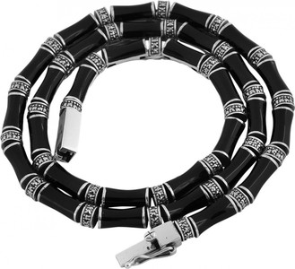Black enamel and marcasite set bamboo style necklace with safety catch