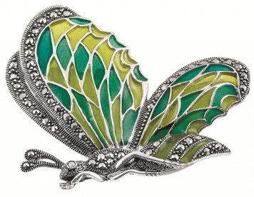 Blue and green enamel and marcasite set butterfly brooch