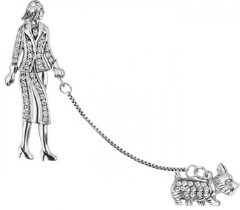 Art Deco lady walking a Scottie dog set with crystals brooch