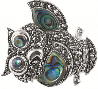 Abalone shell and marcasite set owl brooch