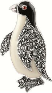 Black and white enamel;red crystal and marcasite set penguin brooch