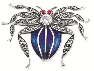 Blue enamel;clear and red crystal and marcasite set spider brooch