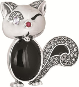 Black enamel;red and clear crystal and marcasite set cat brooch