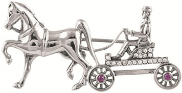 Crystal and amethyst set horse and carriage brooch