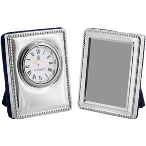 Elegant miniature beaded pattern clock and frame set