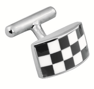 Black and white enamel chequer design fixed cufflinks