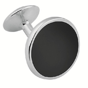Black onyx round fixed post cufflinks