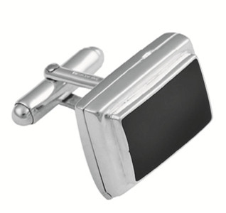 Black onyx rectangular locket swivel cufflinks