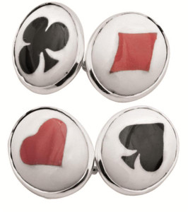 Enamel playing card suit chain link cufflinks