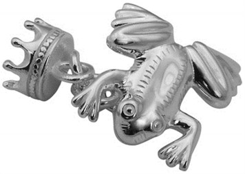 Frog and crown chain link cufflinks