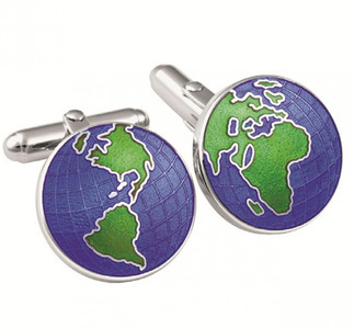 Enamel globe swivel cufflinks