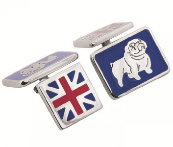 Enamel British bulldog and union jack chain link cufflinks