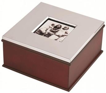 Mahogany finish keepsake box with photo frame lid