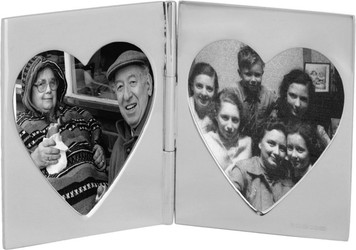 Double heart folding photo frame