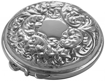 Embossed Victorian pattern compact mirror