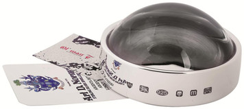 Feature hallmark paper weight and magnifying glass.  With a magnification of x 10