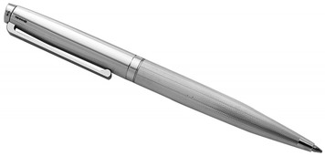 Engine turned ballpoint pen with engravable panel