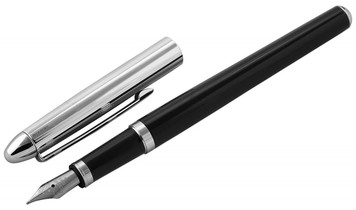 Black acrylic and engine turned fountain pen with engravable panel