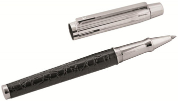Black leather and linear pattern rollerball pen with 5pt diamond set clip and engravable panel