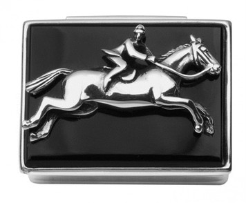 Rectangular hinged pillbox with rider on galloping horse on onyx set lid