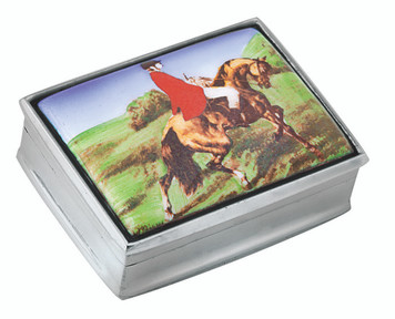 Rectangular hinged pillbox with hunting horse rider scene painted enamel lid