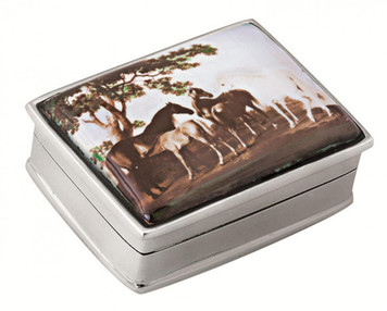 Rectangular hinged pillbox with five horse scene painted enamel lid