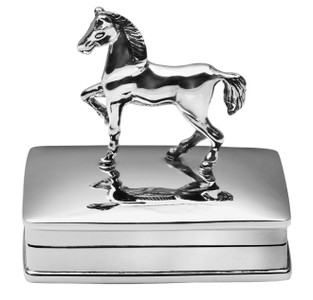 Rectangular dome hinged pillbox with trotting horse