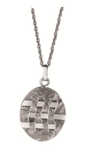 """Woven hatch design pendant on 56cm / 22"""" antique finish Prince of Wales chain"""