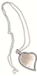 """Mother of pearl and marcasite set heart in heart pendant on 41cm / 16"""" antique finish Prince of Wales chain;with 5cm / 2"""" adjuster"""