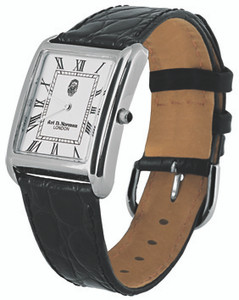 Men's watch;curved white enamel dial;black leather strap;swiss movement;water resistant case;onyx set winder