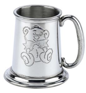 English Pewter Child's Mug Teddy