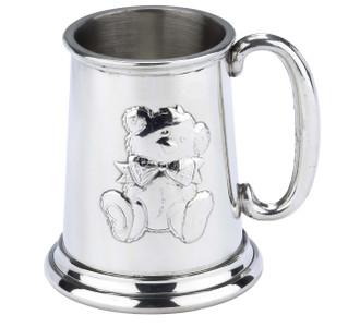 English Pewter Child's Mug Embossed Teddy