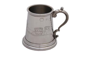 English Pewter Child's Mug Train Design