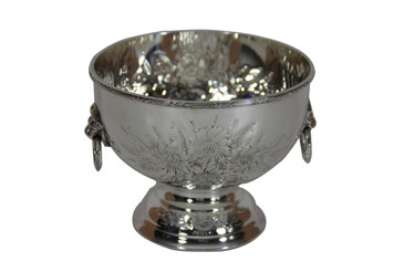 "Hand Chased 6"" Bowl with Lion Handles Silver Plate"