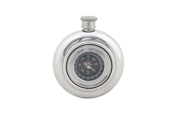 English Pewter 6oz Working Compass Flask