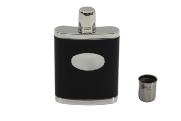 Black leather Stainless Flask with Cap