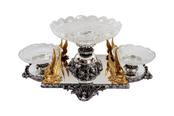 Centerpiece with Gold Plated Swans English silver Plate