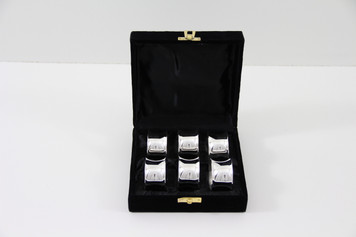Set/6 Concave Silver Plated Napkin Rings in fitted Velvet Box