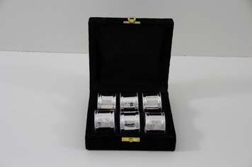 Set/6 Panelled & Bead Silver Plated Napkin Rings in fitted Velvet Box