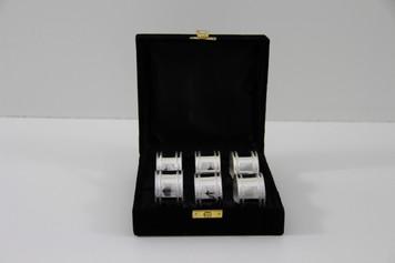 Set/6 Plain & Bead Silver Plated Napkin Rings in fitted Velvet Box