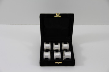 Set/6 Ribbed Silver Plated Napkin Rings in fitted Velvet Box