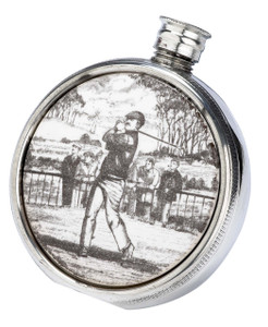 Ceramic & English Pewter Flask