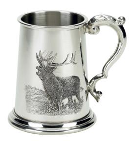 Elk English 1 Pint Pewter Tankard