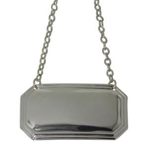 Cut Corner Plain Decanter Label English Silver Plate