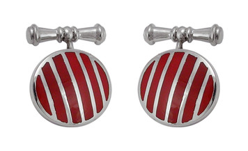 Cufflinks Red Stripes Round in Design English Sterling Silver