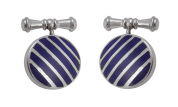Cufflinks Blue Striped Round Design English Sterling Silver
