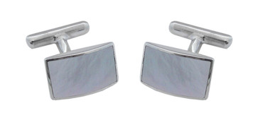 Cufflinks Rounded Rectangular Mother of Pearl Design English Sterling Silver