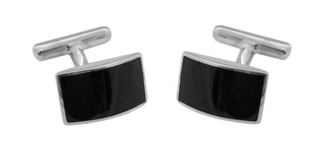 Cufflinks Black Onyx Rectangular Design English Sterling Silver