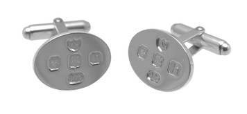 Cufflinks Oval with English Hallmarks Design English Sterling Silver